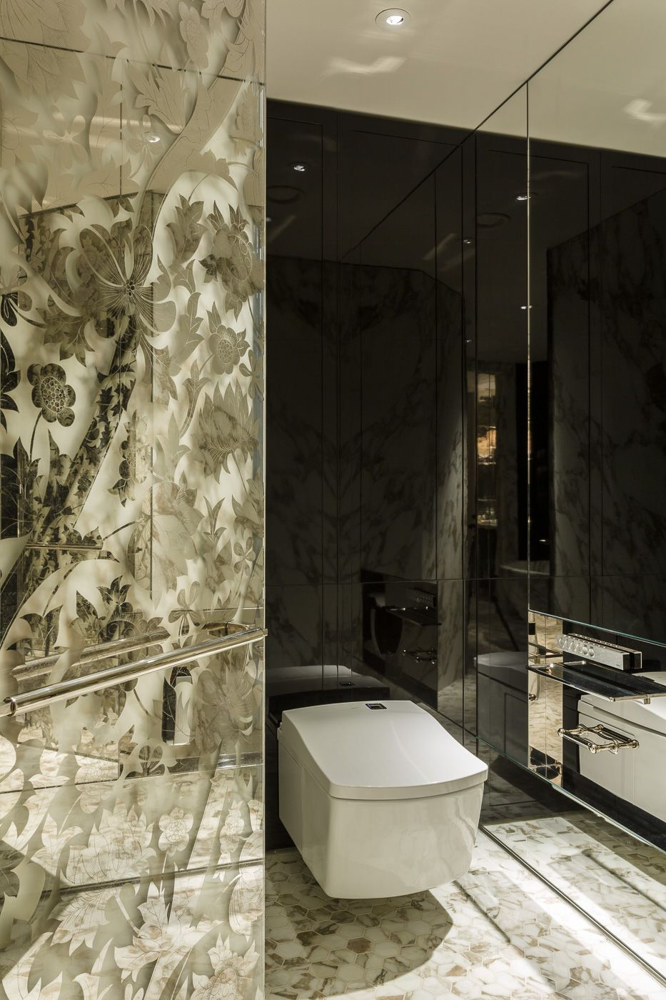 stunning marble bathroom at the rosewood hotel london, featuring a