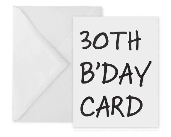 30th Birthday Card Typographic Greetings Card Bday Card