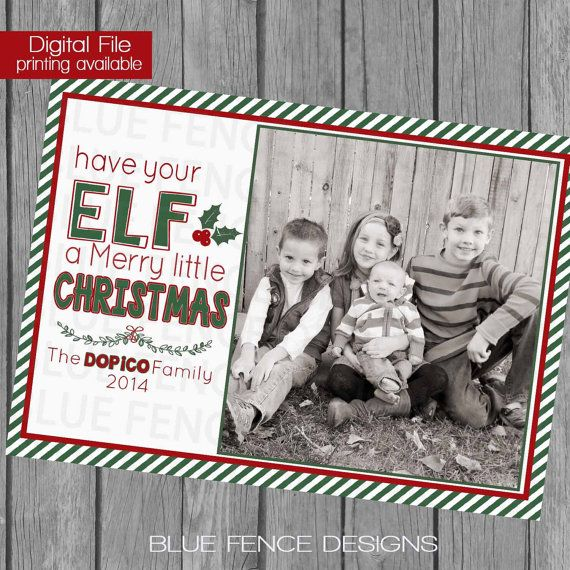 Elf On The Shelf Inspired Unique Christmas Card Photo