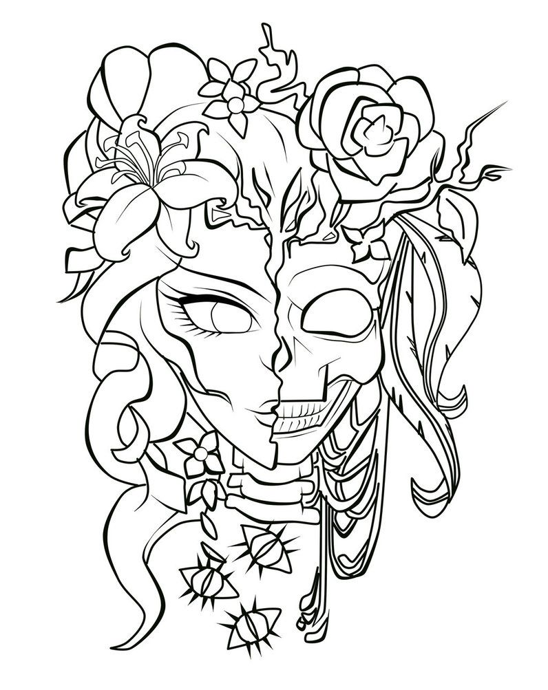 Memento Mori Skull Coloring Pages Rose Coloring Pages Halloween Coloring