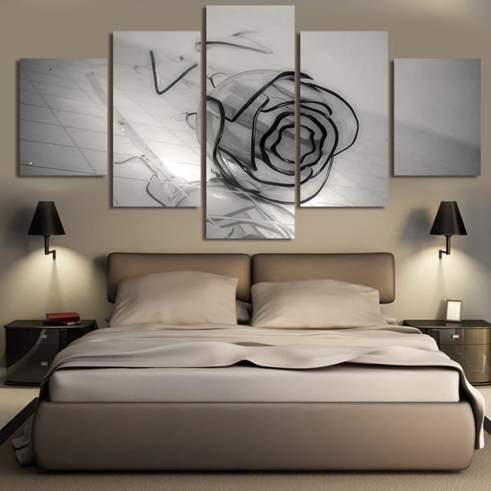 5 panneaux La Rose Noire Modern Home Décoration murale Peinture - decoration maison salon moderne