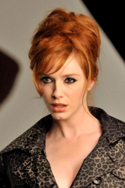 Good Christina Hendricks Shows The Right Way To Wear The Messy Beehive.