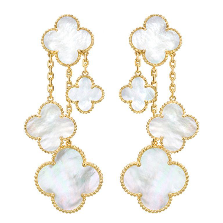 Van Cleef And Arpels Mother Of Pearl Magic Alhambra Earrings
