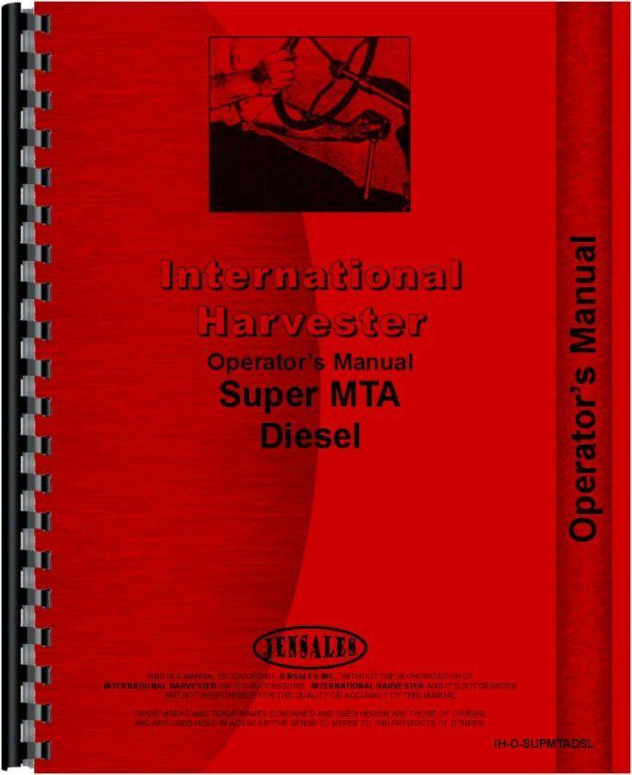 Farmall Super MDVTA Tractor Operators Manual