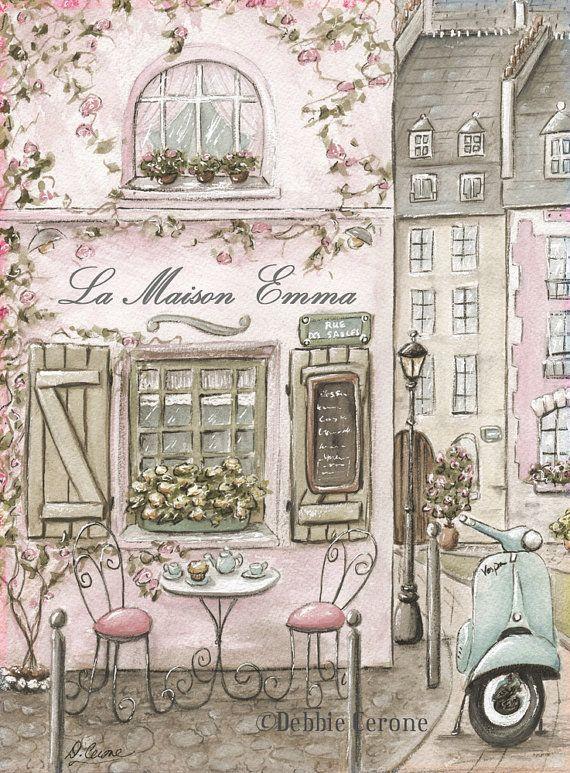 Paris Bedroom Decor Personalized Paris Cafe Watercolor Print Etsy Pink Paris Art Paris Wall Art Paris Art Print