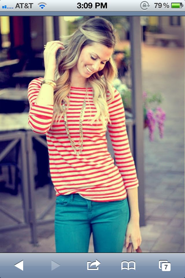 Striped Shirt, colored pants!