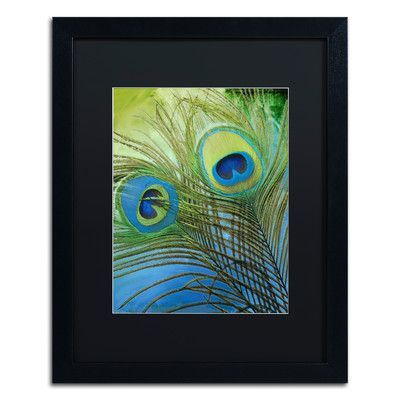 """Trademark Art 'Peacock Candy I' by Color Bakery Framed Graphic Art Mat Color: Black, Size: 20"""" H x 16"""" W x 0.5"""" D"""