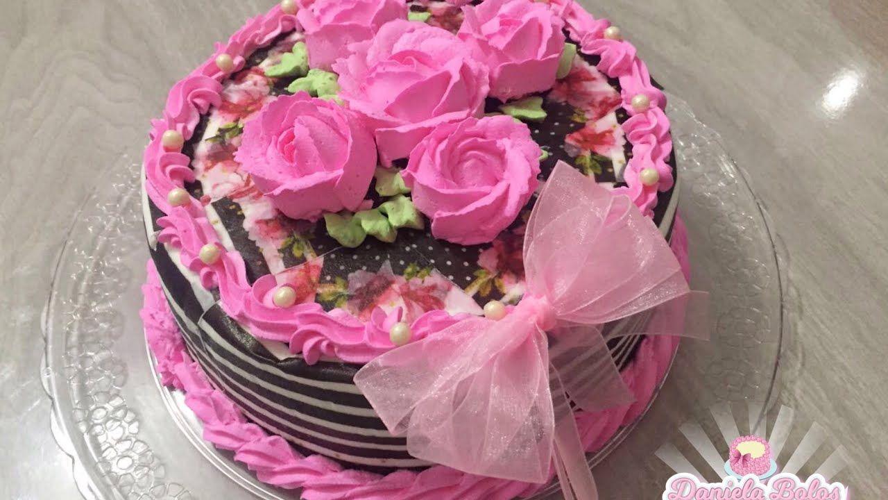 Bolo Envelopado C Rosas Com Imagens Bolo Bolos De