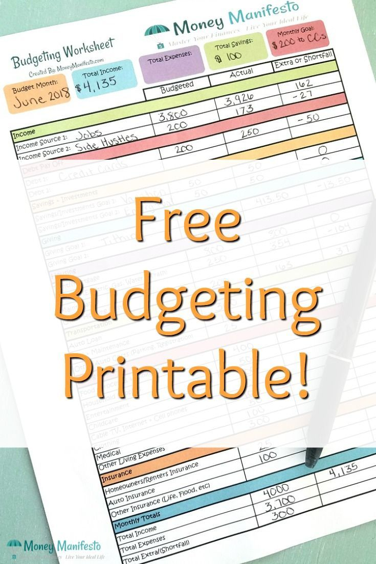 Free Budgeting Worksheet Printable Learn to Budget Today