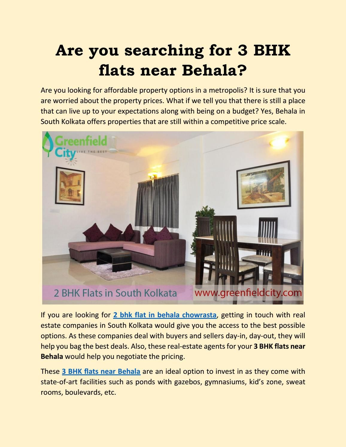 Are You Searching For 3 Bhk Flats Near Behala Real Estate
