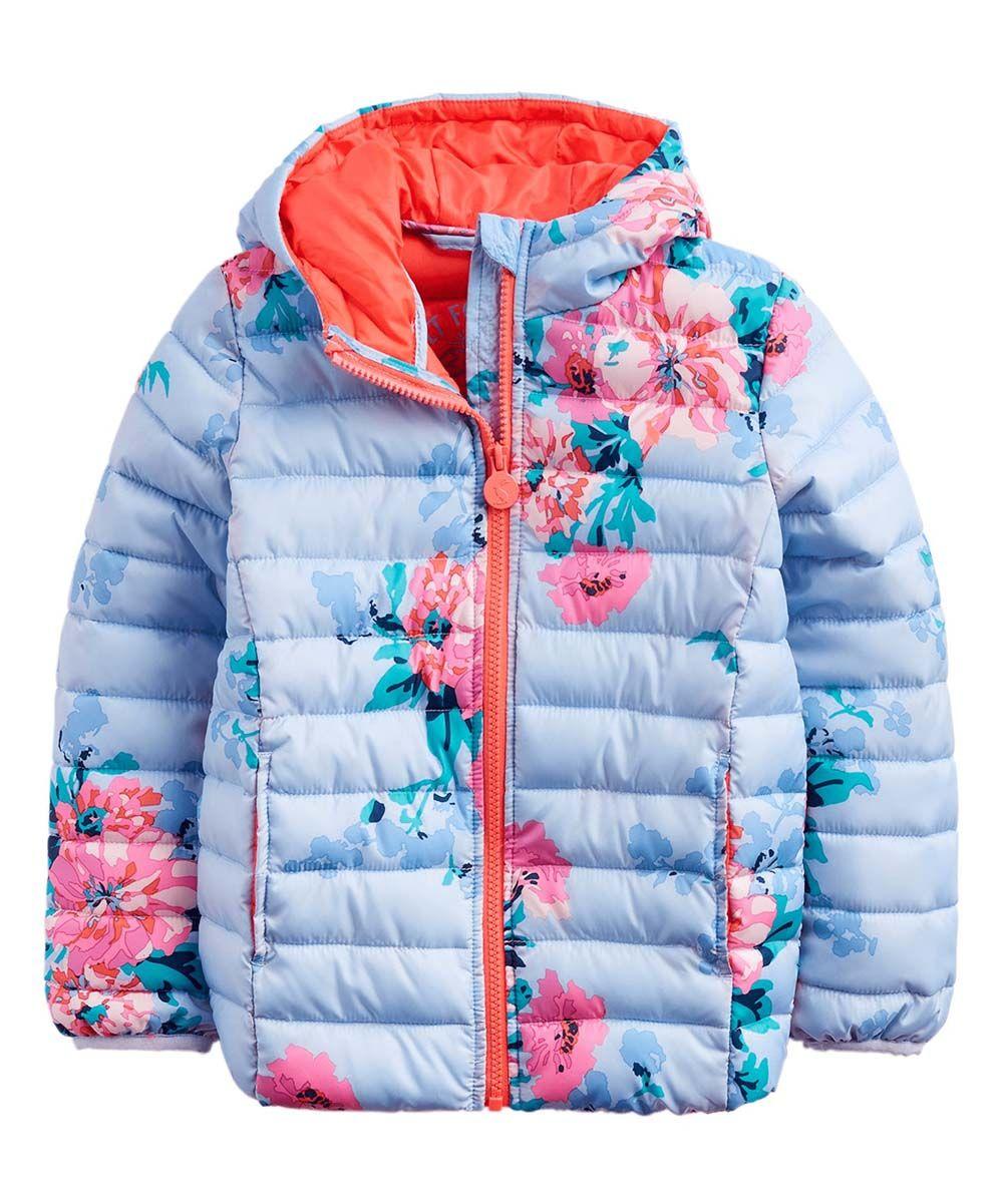 Joules Sky Blue Stripe Floral Kinnaird Packable Puffer Coat Infant Toddler Girls Zulily [ 1201 x 1000 Pixel ]