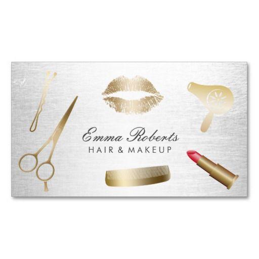 Makeup Artist Hair Stylist Modern Gold Silver Business Card