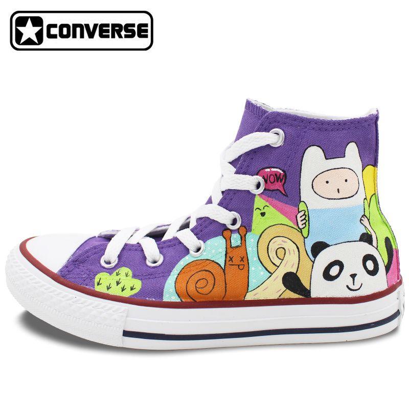 a00998cb0e98 Purple Converse All Star Girls Boys Shoes Custom Adventure Time Design Hand  Painted Shoes Women Men