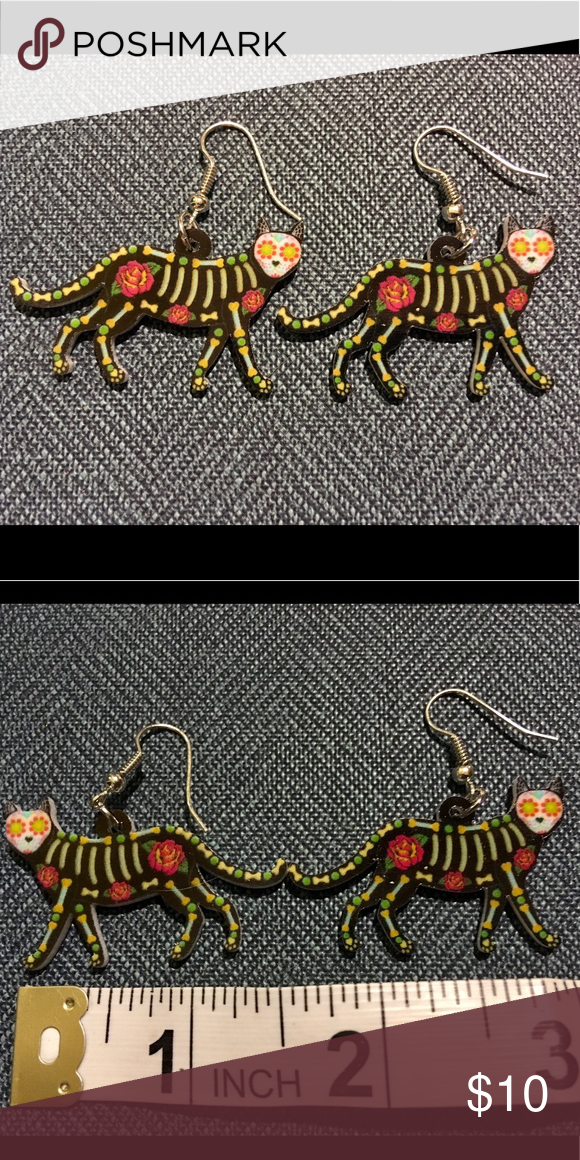 2a26a01335 NWOT Cat earrings-Day of the dead style Cute day of the dead style cat  earrings. New without tags. Jewelry Earrings
