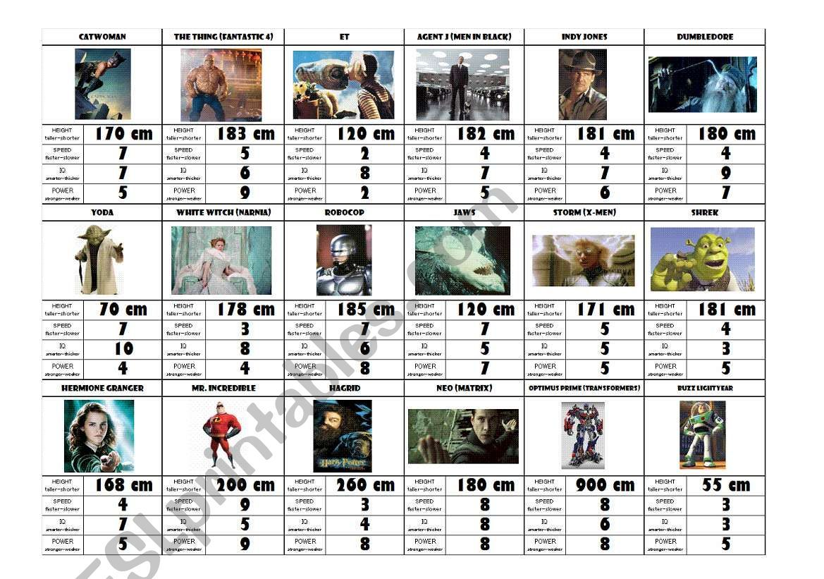Superhero Card Game Comparative Superlative And Numbers