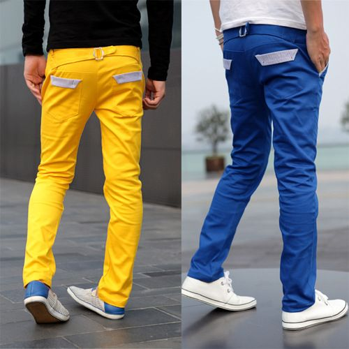 Korean fashion white pants for men flat front leisure mens ...