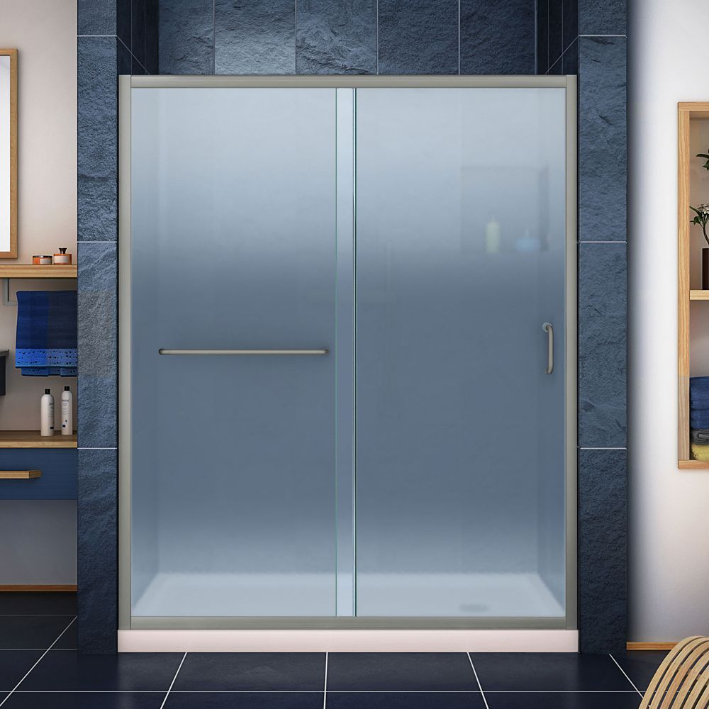 Infinity Z 36 Inch D X 60 Inch W Frosted Shower Door In Brushed