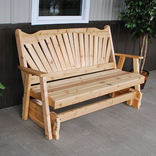 A U0026 L Furniture Fanback Western Red Cedar Outdoor Glider Loveseat   Outdoor  Gliders At Hayneedle Part 89