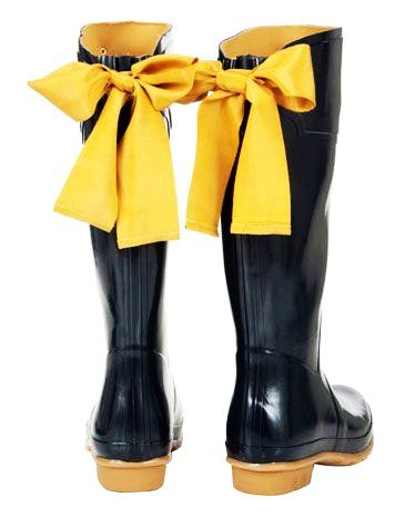 Women's Black Bow Rain Boots - Black Rain Boots With Yellow Bow ...