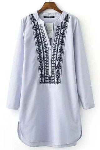 Cupshe Coast of Freedom Embroidered Shirt Dress
