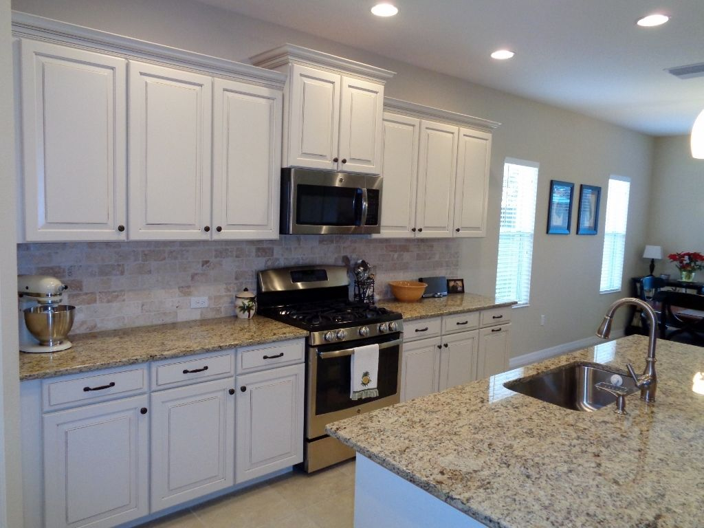 Sarasota Kitchen Woodbrook Granite Counters Stainless Steel Appliances And Marble Backsplash Kitchen Florida Home Marble Backsplash