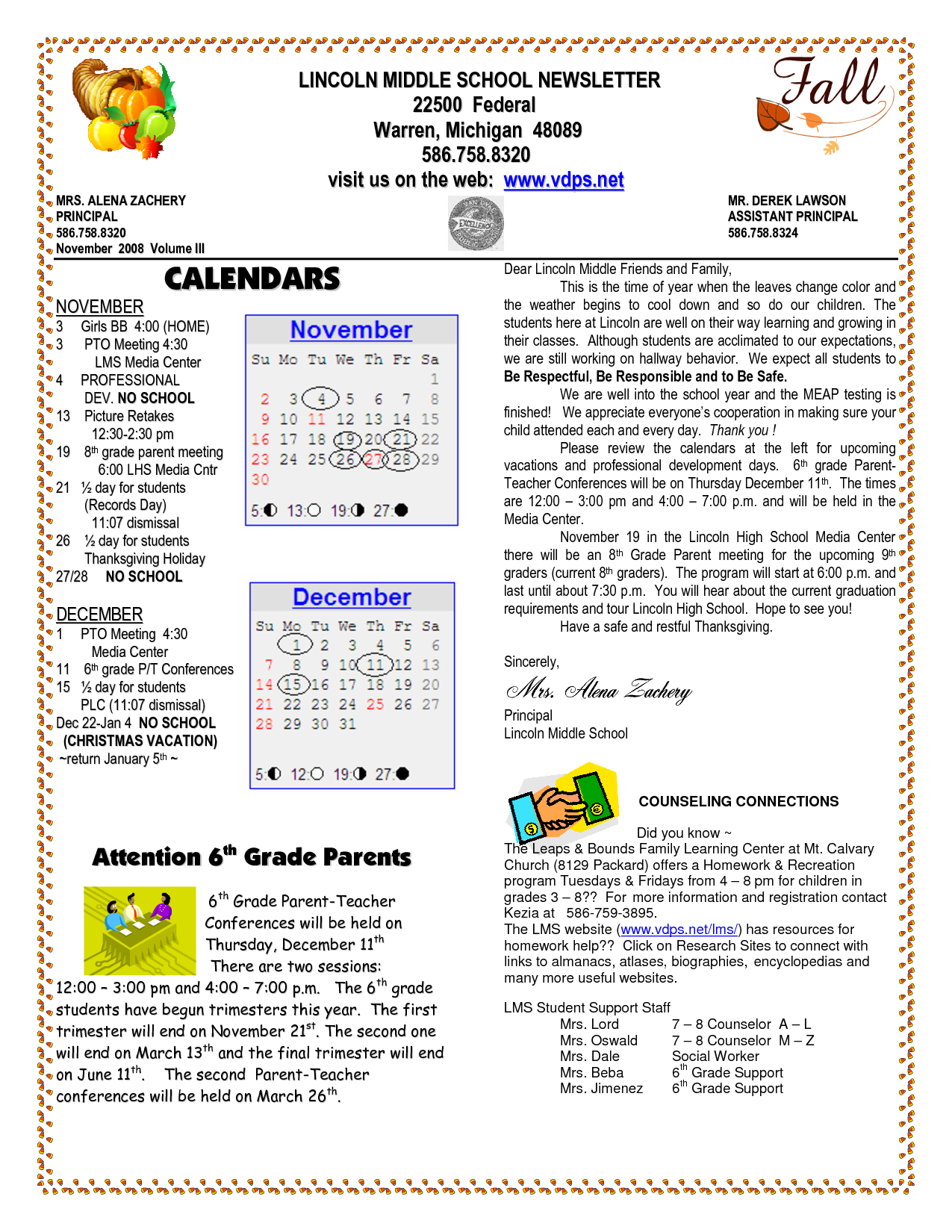 school newsletter templates | LINCOLN MIDDLE SCHOOL NEWSLETTER ...
