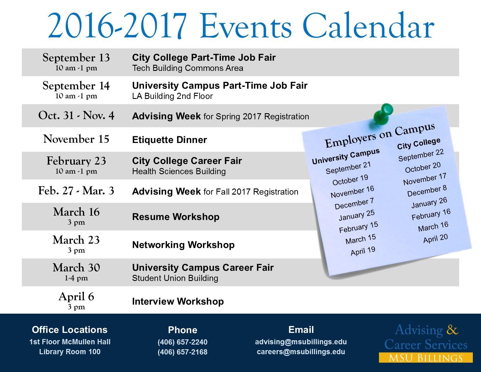 Msub 2016 2017 Events Calendar Event Calendar 2017 Events Job Fair