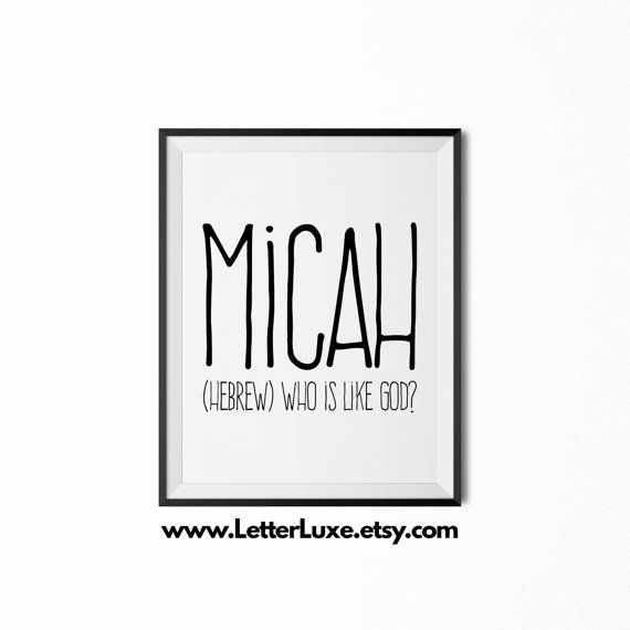 Micah printable kids gift name meaning by letterluxeprintables micah printable kids gift name meaning art baby shower gift nursery art digital print nursery decor typography wall decor negle Image collections