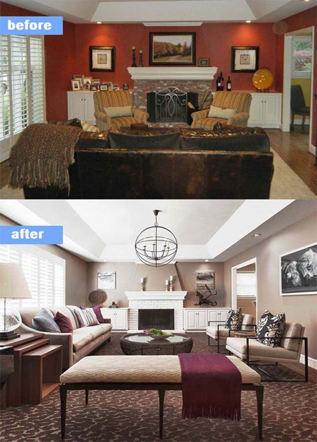 15 Before And After Living Room Designs Room Remodeling Living