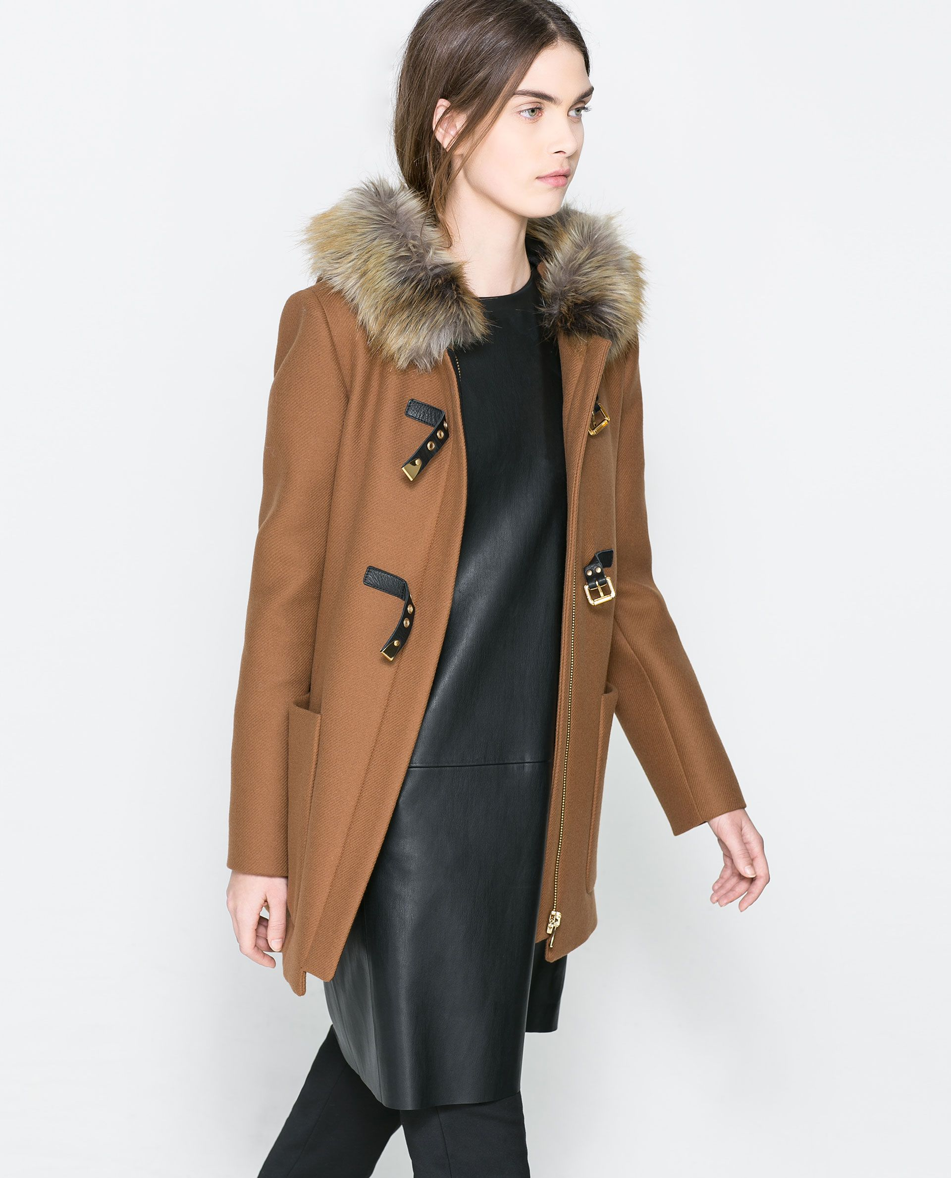 ZARA WOMAN DUFFLE COAT WITH FUR HOOD Obsessed with