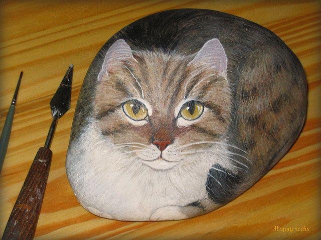 chats peints sur galets by yvette bierdermann magnifique cats painted rocks pinterest. Black Bedroom Furniture Sets. Home Design Ideas