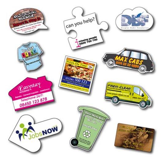 Personalised Shaped Flexible Fridge Magnets. A great low cost promotional tool: High quality, under surface printed Fridge Magnets. Available in a selection of shapes & sizes with custom shapes easily produced.Please note that there are 4 sizes to choose from A, B, C, D, these are priced according to size and all full colour printed.