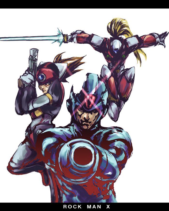 Megaman X X Zero And Axl Mega Man Art Mega Man Game Art