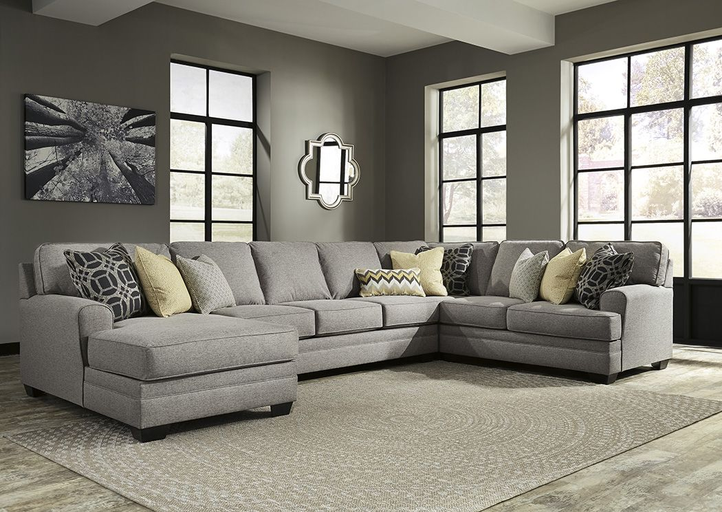Cresson Pewter Left Facing Corner Chaise Sofa Sectional