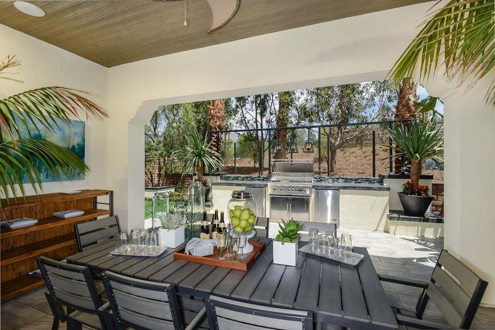 trendige Outdoor- Küche Ideen Sitzecke unter Dach moderne ...