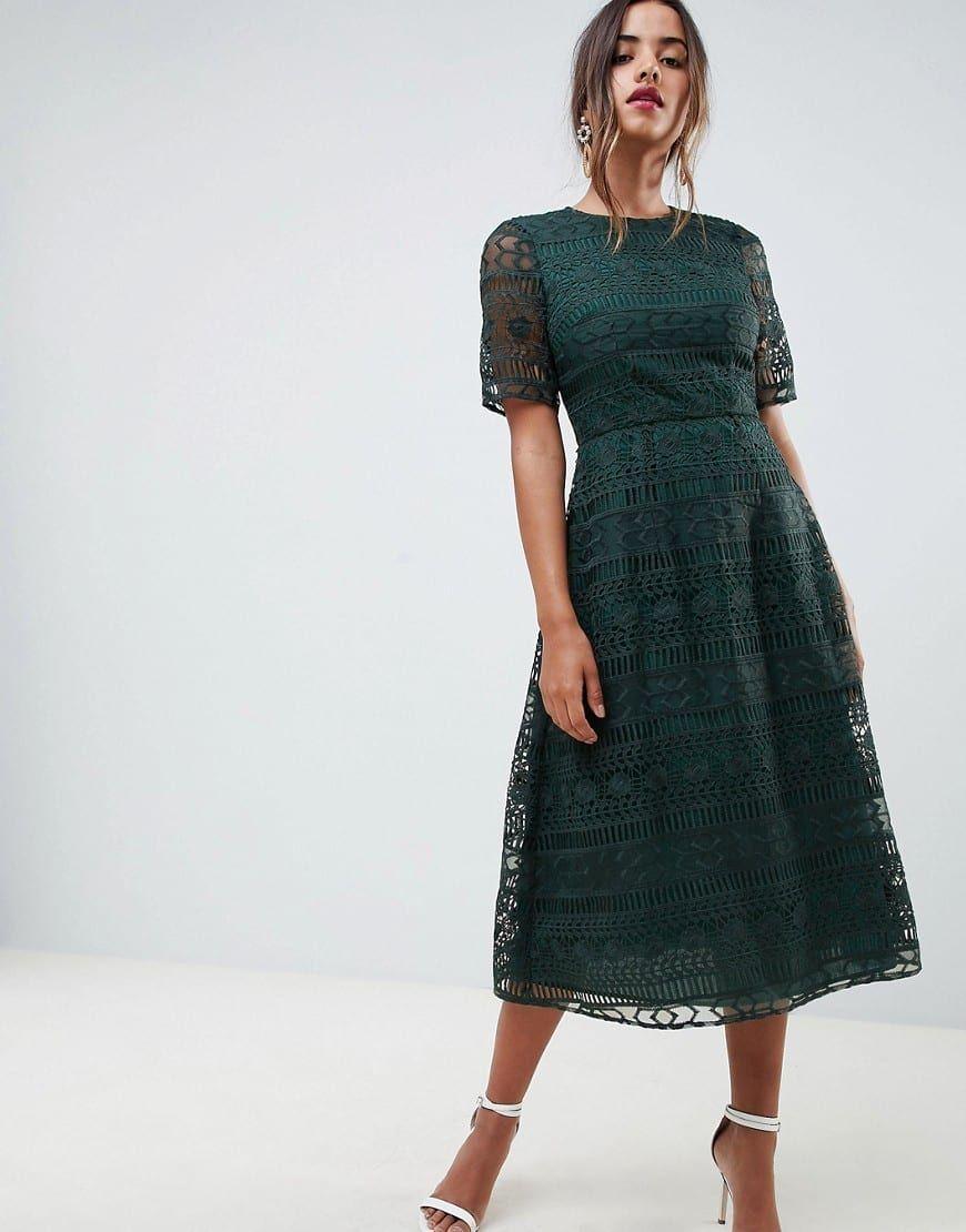 green lace dress midi