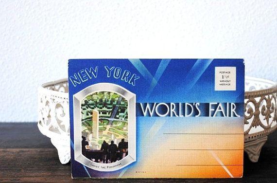 Uncut Linen Postcards Vintage 1939 Worlds Fair New York Art Deco Postcard Set 18 Litho Unused