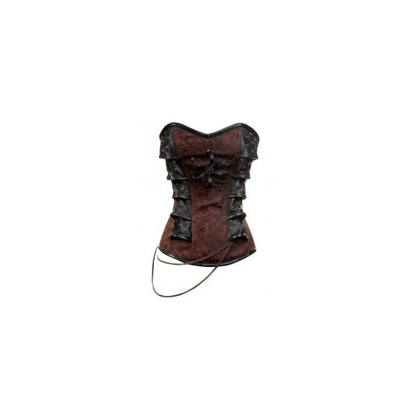 CD-313 Brown Steampunk Style Corset with Chain Detail ❤ liked on Polyvore featuring tops, corsets, shirts, pirate, steampunk, brown steampunk corset, chain shirt, corset tops, tailored shirts y steel corset