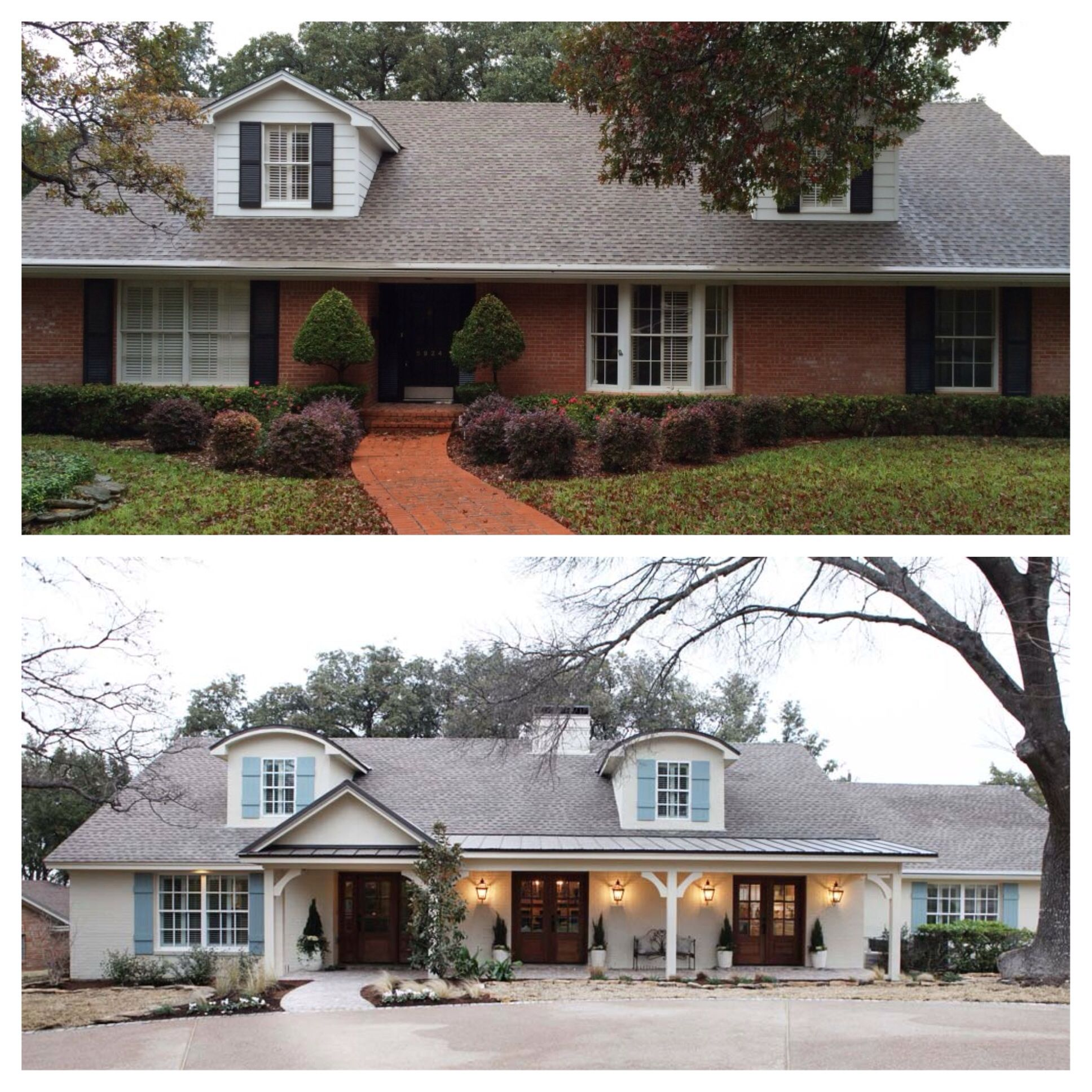 How to transform a tired red brick boring ranch home exterior ...