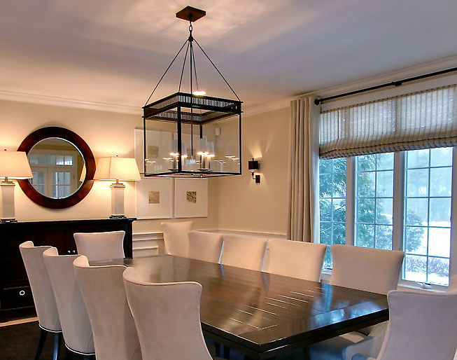 Rachel Hazelton Interior Design Chic Dining Room With Wainscoting Sand Walls Paint Color Urban ElectricLight