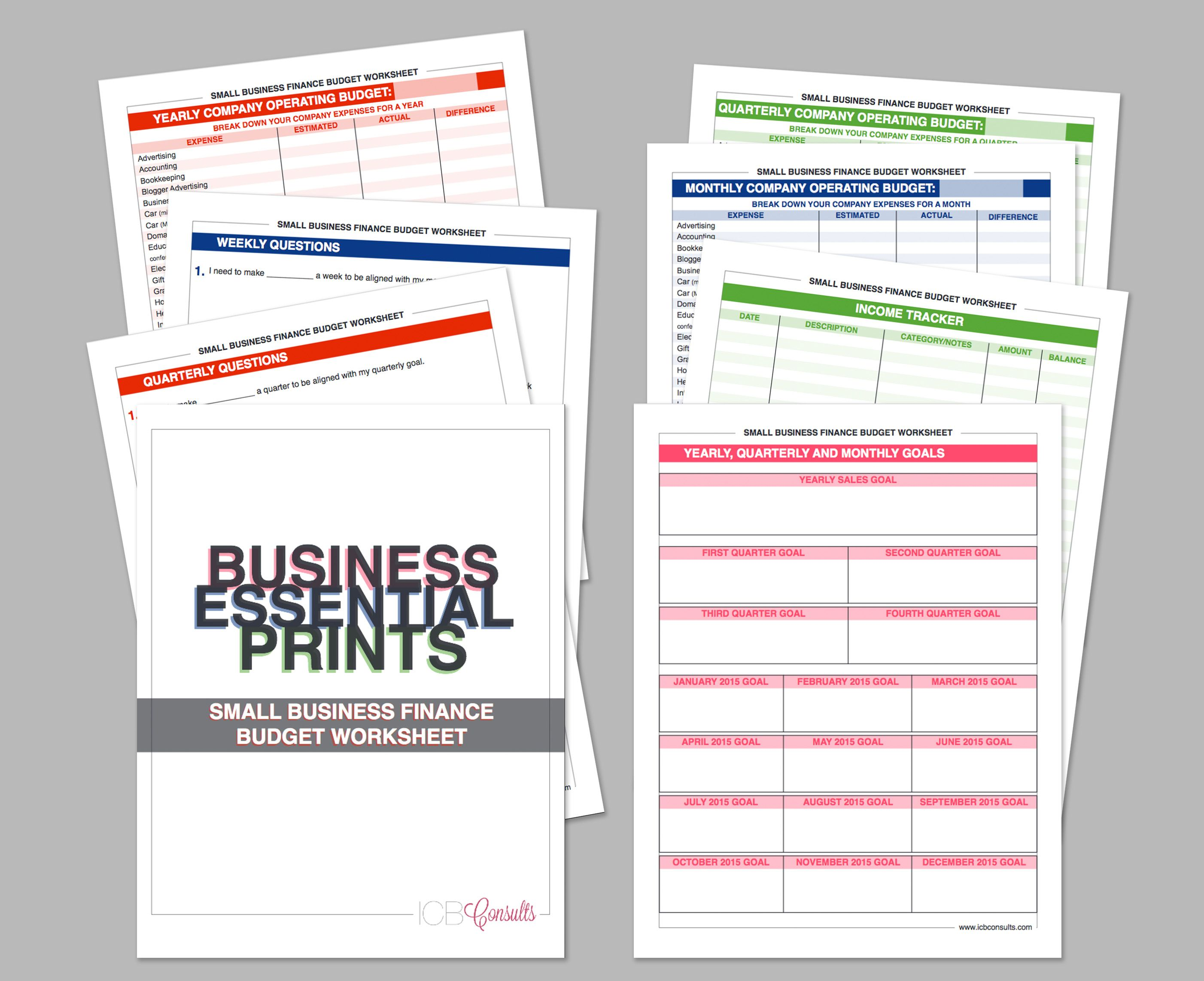 Small Business Finance Budget Worksheet Questionnaire Goals Income Tracker Expense Tracker