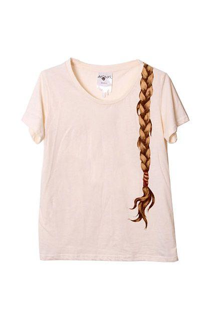 Brief Plait Print Cream T-shirt