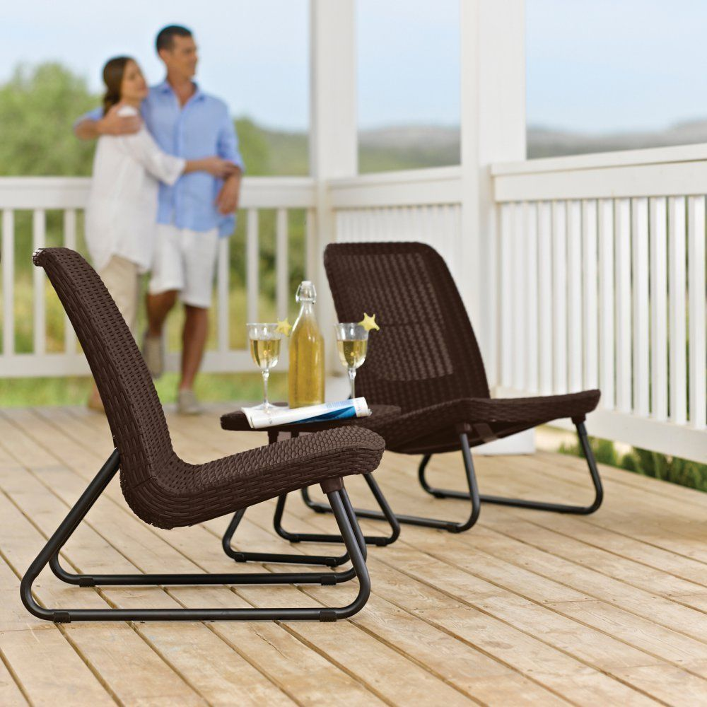 Patio Set 3-Pc Keter Durable Molded Rattan Design All Weather Rust ...