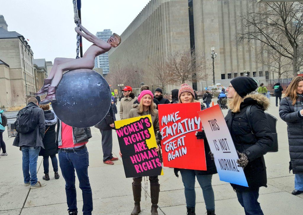 """Jane Lytvynenko on Twitter: """"The man behind this, er, sculpture is here with his mom and friends to support equality #womensmarchtoronto https://t.co/iJkc9DrZ8W"""""""