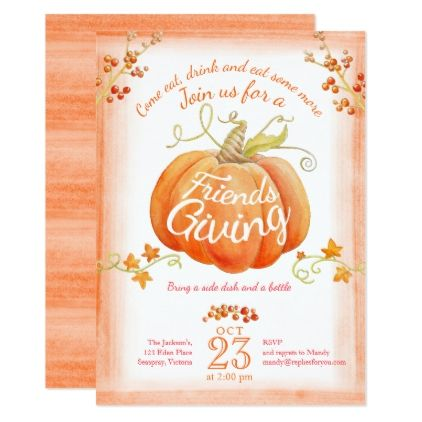 Friendsgiving Pumpkin Watercolor Art Invitations  Thanksgiving