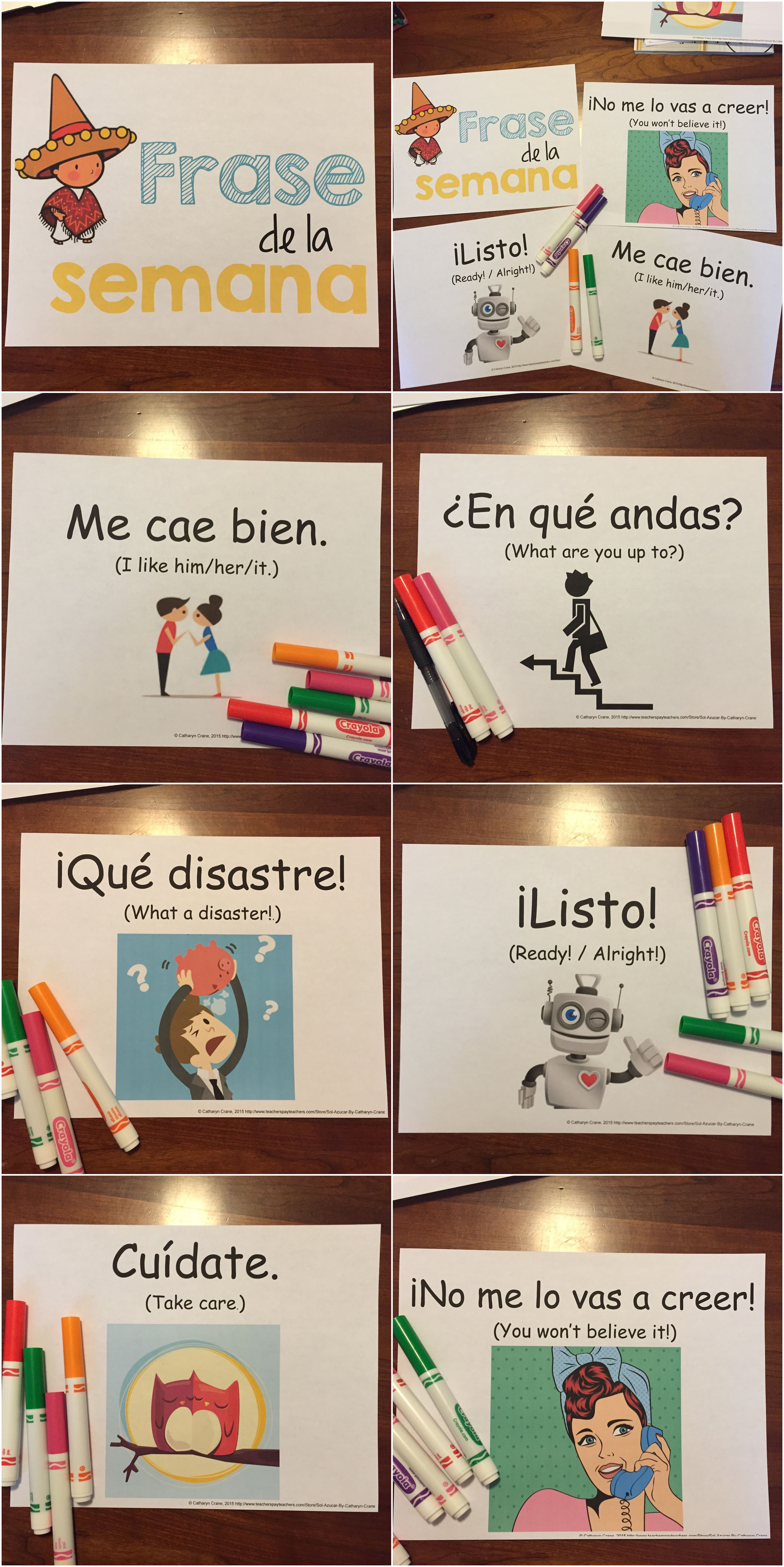English In Italian: Spanish Phrase Of The Week Posters