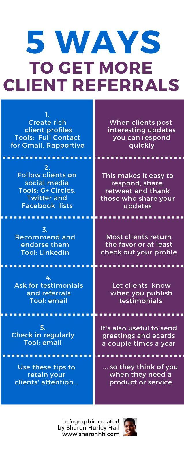 5 Maneras De Conseguir Mas Referencias De Clientes Infografia Infographic Marketing Massage Business Massage Marketing Insurance Marketing