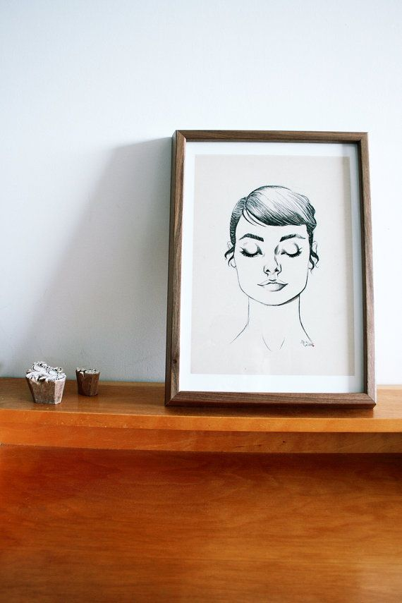 Audrey Hepburn drawing print by ByGlam on Etsy, €40.00