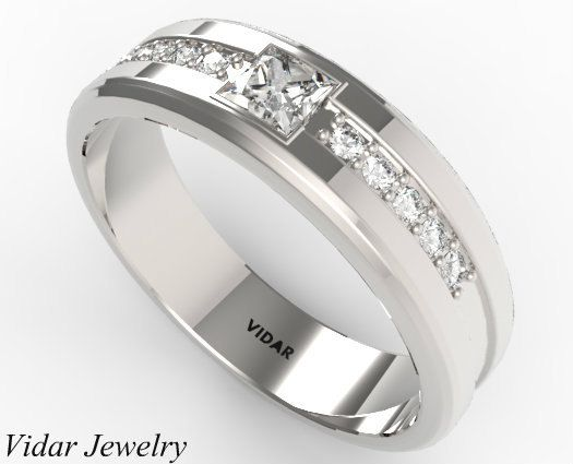 Mens Wedding Band Unique Princess Cut Diamond In 14k White Gold Ring For