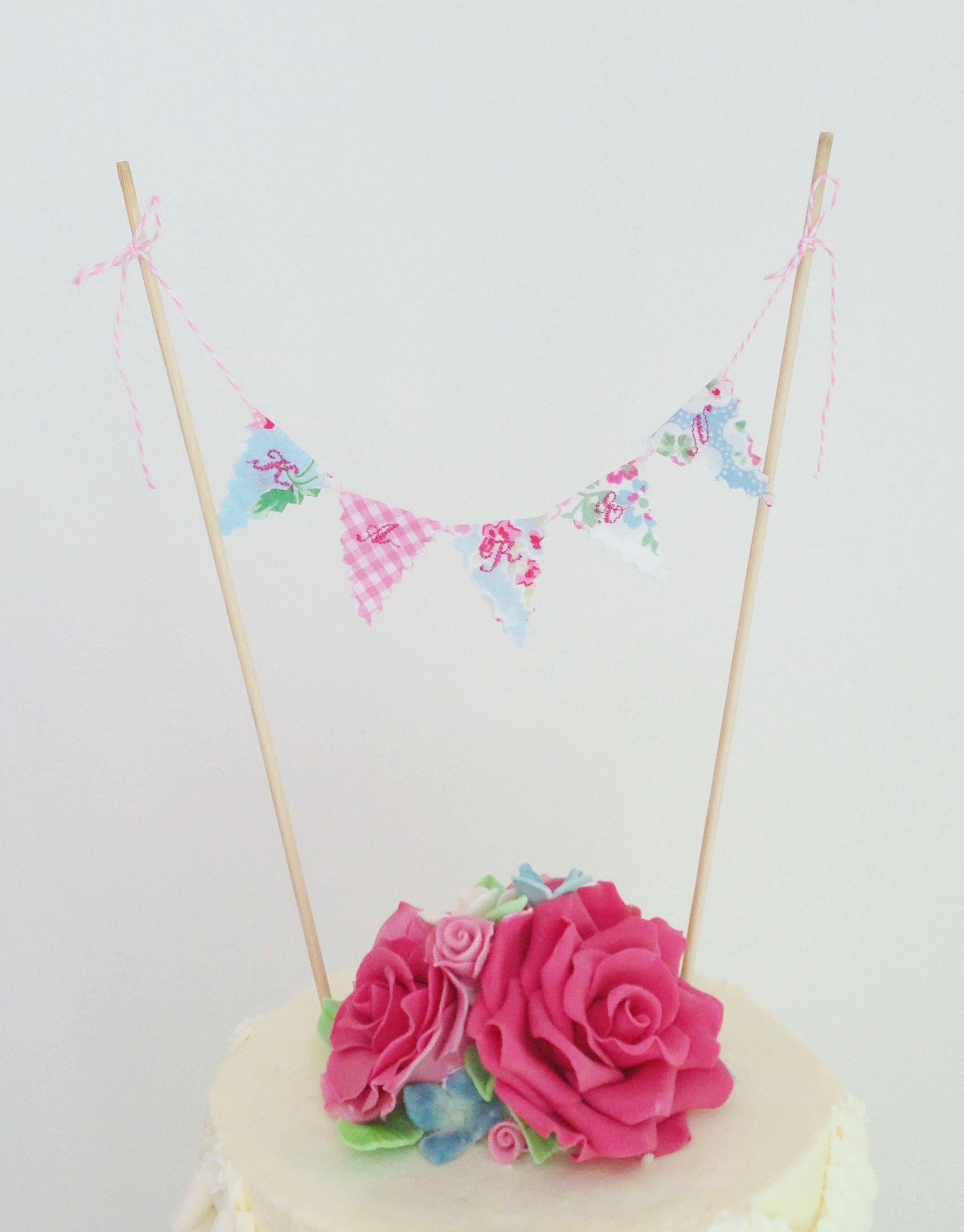 Cath Kidston Personalised Bunting Cake Topper - handmade roses, buds ...